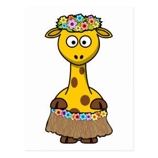 Hula Dancer Giraffe Cartoon Postcard