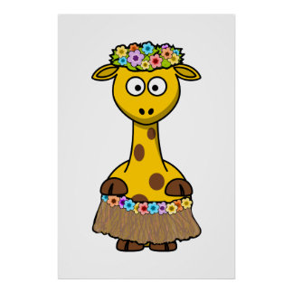 Hula Dancer Giraffe Cartoon Print