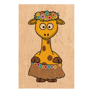 Hula Dancer Giraffe Cartoon Cork Fabric