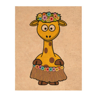 Hula Dancer Giraffe Cartoon Queork Photo Print