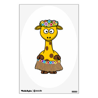 Hula Dancer Giraffe Cartoon Room Sticker