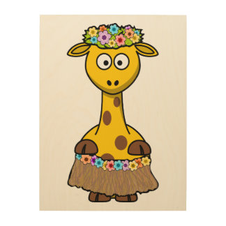Hula Dancer Giraffe Cartoon Wood Prints