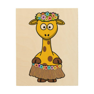 Hula Dancer Giraffe Cartoon Wood Print