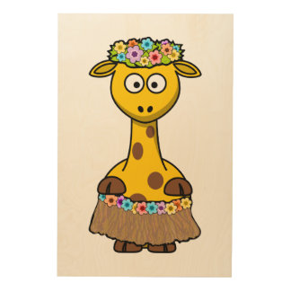 Hula Dancer Giraffe Cartoon Wood Canvases
