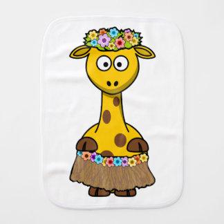 Hula Dancer Giraffe Cartoon Baby Burp Cloth
