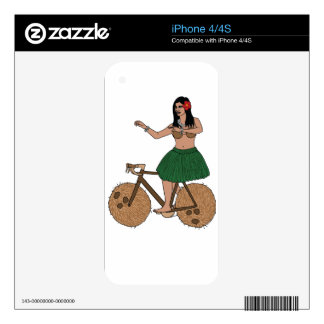 Hula Dancer Riding Bike With Coconut Wheels Decals For The iPhone 4S