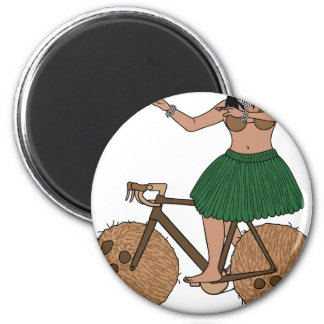 Hula Dancer Riding Bike With Coconut Wheels Magnet