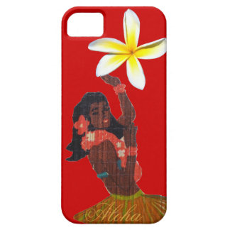 Hula Dancer Tropical Plumeria on red iPhone 5 Cases