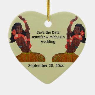Hula Dancer Tropical Save the Date Ceramic Ornament