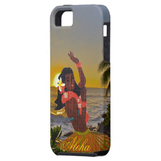 Hula Dancer with Tropical Beach Sunset iPhone 5 Cover