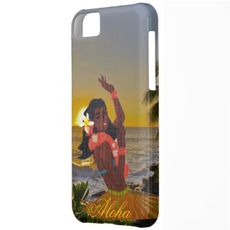 Hula Dancer with Tropical Beach Sunset iPhone 5C Case