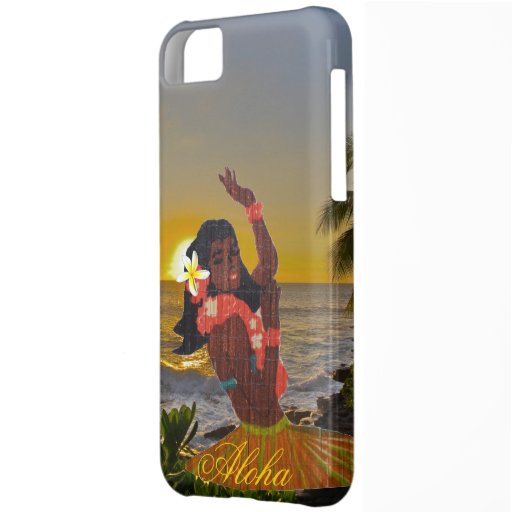 Hula Dancer with Tropical Beach Sunset iPhone 5C Cover
