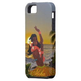 Hula Dancer with Tropical Beach Sunset iPhone SE/5/5s Case