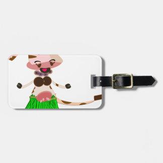 Hula Dancing cow Bag Tag