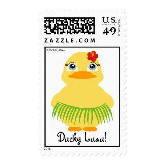 hula ducky BIRTHDAY luau postage stamp