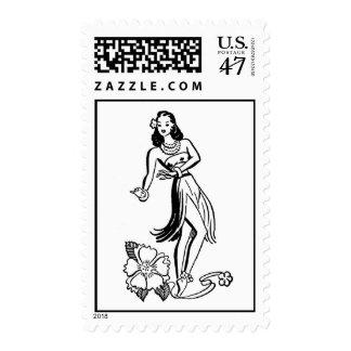 Hula Girl Aloha Postage Stamp