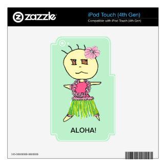 HULA GIRL ANA WITH ALOHA GREEN BACKGROUND iPod TOUCH 4G DECAL