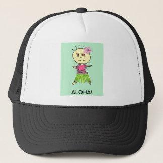 HULA GIRL  ANA WITH ALOHA GREEN BACKGROUND TRUCKER HAT