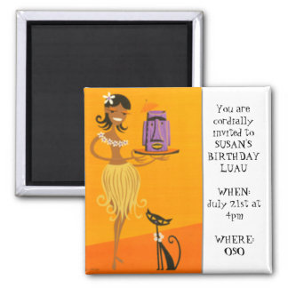 Hula girl and cat 2 2 inch square magnet
