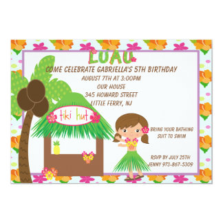 Hula Girl at Tiki Hut Birthday Invitation