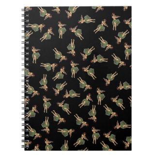 Hula Girl Dancing Pattern Spiral Notebook