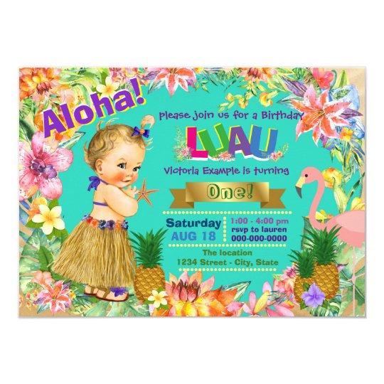 hula girl flamingo hawaiian luau birthday party invitation zazzle com