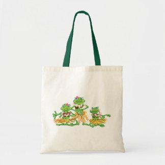 hula girl frogs budget tote bag