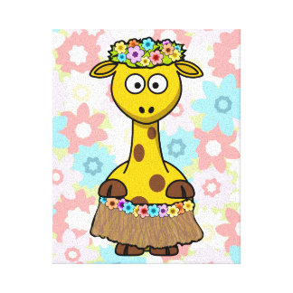 Hula Girl Giraffe Gallery Wrap Canvas
