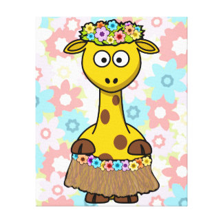 Hula Girl Giraffe Stretched Canvas Print