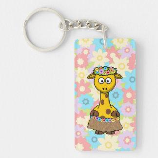 Hula Girl Giraffe Keychain