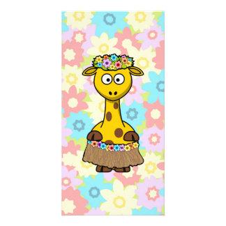 Hula Girl Giraffe Photo Card Template