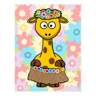 Hula Girl Giraffe Postcard