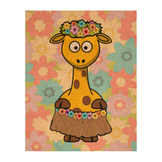 Hula Girl Giraffe Photo Cork Paper