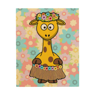 Hula Girl Giraffe Wood Canvases