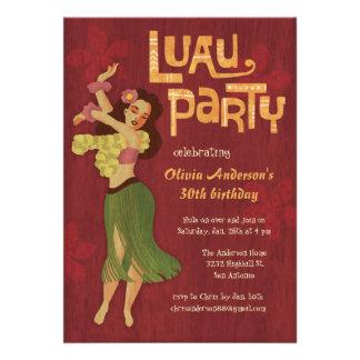 Hula Girl Hawaiian Luau Invitations