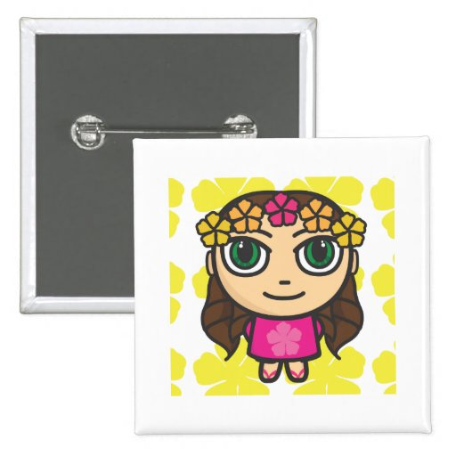 Hula Girl in Pink-Yellow Background Button Badge