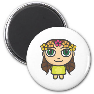 Hula Girl in Yellow with Green Eyes Magnet