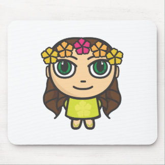 Hula Girl in Yellow with Green Eyes Mouse Pad
