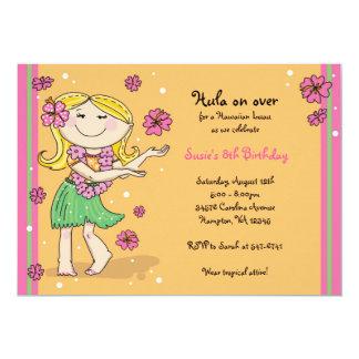 Hula Girl Invitations: Blonde Card