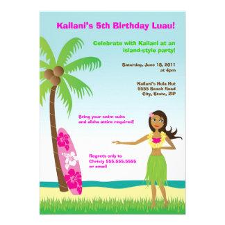 Hula Girl Luau at the Beach Birthday Invitation