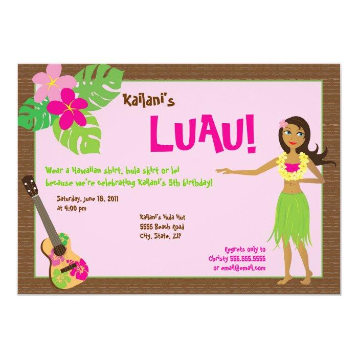 Hula girl birthday party invitations quotes hula girl luau birthday invitation zazzle stopboris Choice Image