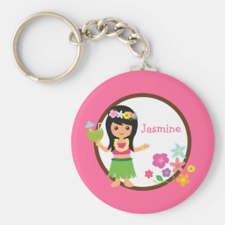 Hula Girl Luau Themed Party Favors Basic Round Button Keychain