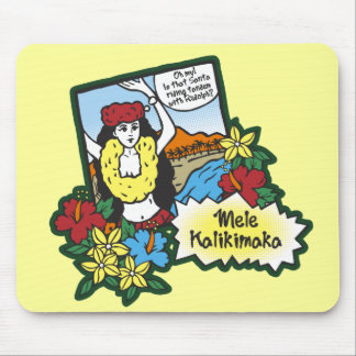 Hula Girl Mele Kalikimaka Hawaiian Xmas Cartoon Mouse Pad