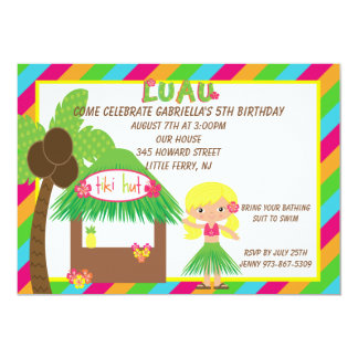Hula Girl Tiki Hut Bright  Birthday Invitation