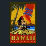 """Hula Girl - Waikiki, Hawaii Diamond Head Poster<br><div class=""""desc"""">Here is one of our Vintage-Style Travel Posters.  All designs are custom made to resemble posters of the early 1900&#39;s.  These pieces of artwork carry high detail,  deep color,  and our careful attention to quality.</div>"""