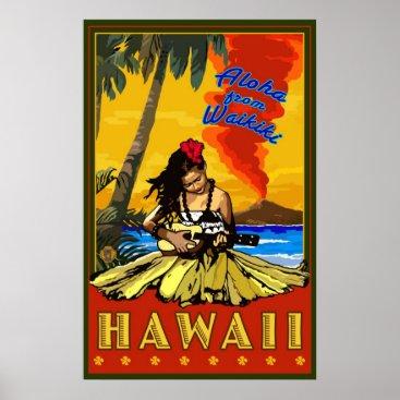 LanternPress Hula Girl - Waikiki, Hawaii Diamond Head Poster