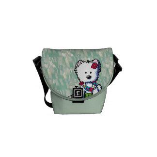 Hula Girl Westie Dog Small Messenger Bag
