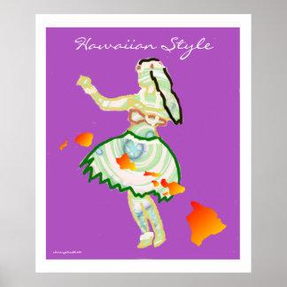 Hula Girl with Hawaiian Islands Chain Customizable Poster