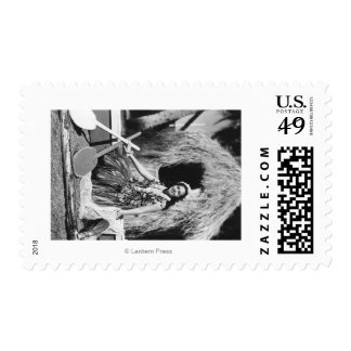 Hula Girl with Outrigger Canoe Hawaii Photograph Postage