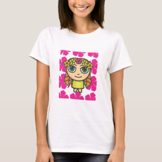 Hula Girl with Pink Background Fitted Tee Shirt